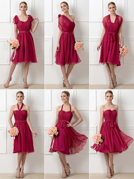 Stylish A Line Tea Length Convertible Chiffon Bridesmaid Dress
