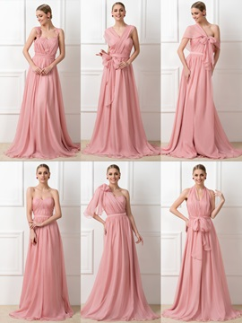Style Ruched Chiffon Long Convertible Bridesmaid Dress