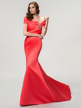 Elegant Off The Shoulder Mermaid Beading Court Train Long Evening Dress