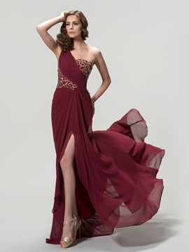 One Shoulder Ruched Sequins Split Front A Line Evening Dress