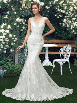 Sensual V Neck Beaded Lace Mermaid Wedding Dress