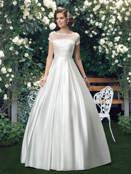 Bateau Neck Floor Length Short Sleeve Wedding Dress