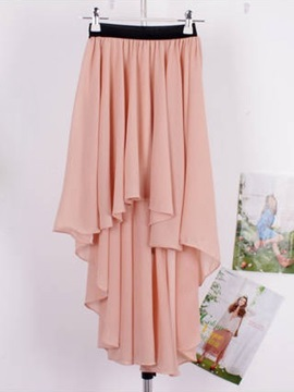Solid Color Asymmetric Hemline Chiffon Skirt
