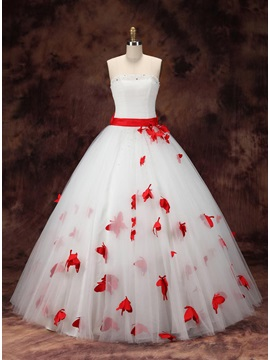 Strapless Butterfly Floral Ball Gown Color Wedding Dress