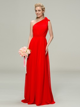 Simple Style One Shoulder A Line Long Chiffon Bridesmaid Dress