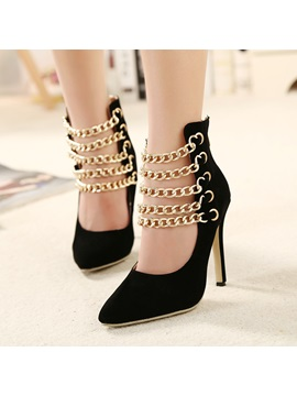 Pointed Toe Metal Chain Pumps
