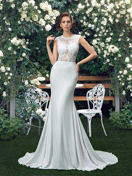 Jewel Neck Mermaid Court Train Wedding Dress
