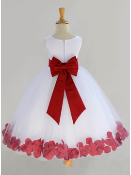 Admirable Jewel Neck Floral A Line Flower Girl Dress With Satin Sash