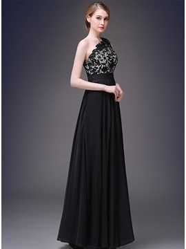 Delicate One Shoulder A Line Lace Up Long Evening Dress