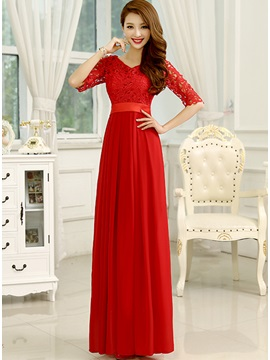 Delicate Lace V Neck Half Sleeves A Line Long Prom Dress