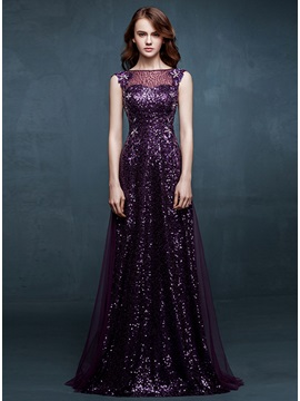 Stunning A Line Bateau Neck Sequins Embroidery Long Prom Dress