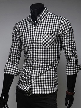 Plaid Cotton Lapel Long Sleeve Shirt