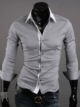 Gray Lapel Single Breasted Shirt