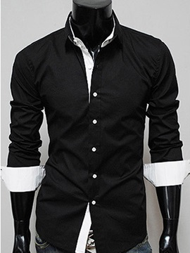 Solid Color Dwon Collar Long Sleeve Mens Shirt