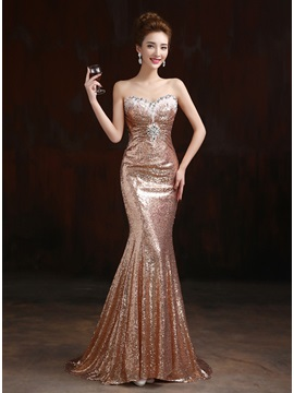 Tidebuy Shining Sweetheart Mermaid Sequins Sweep Train Long Evening Dress
