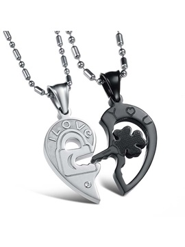 Nice I Love You Titanium Steel Lovers Necklaces Price For A Pair
