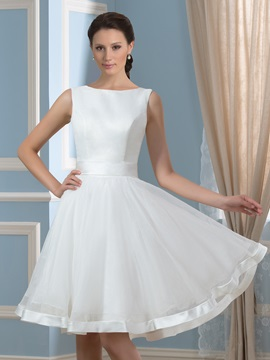 Casual Backless Sleeveless Bowknot Knee Length Short Wedding Dress