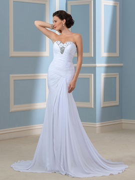 Strapless Beaded Column Sheath Pleated Chiffon Beach Wedding Dress