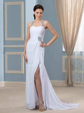 Crystal Beading Pleated Chiffon Court Train Split Front Wedding Dress