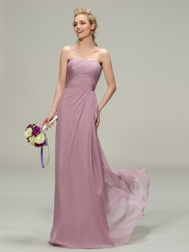 Simple Style Strapless Sheath Long Bridesmaid Dress