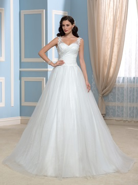 V Neck Appliques Lace Tulle A Line Court Train Wedding Dress