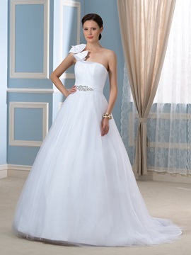 Bowknot One Shoulder Tulle Ball Gown Floor Length Wedding Dress