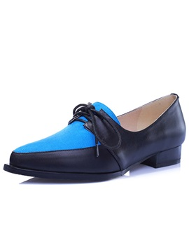 Color Block Lace Up Pointed Toe Flats