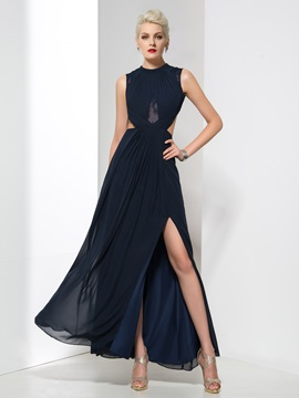 Elegant Jewel Neck Split Front Pleats Backless Long Evening Dress