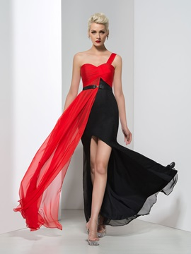 Modern One Shoulder Sash Split Front Long Evening Dress