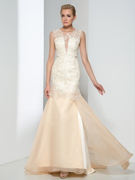 Elegant Straps Hollow Lace Trumpet Evening Dress