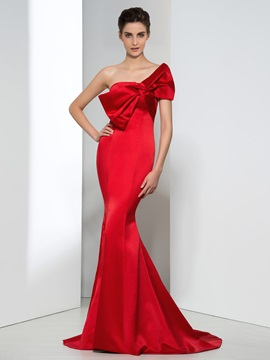 Timeless Strapless Bowknot Mermaid Red Evening Dress