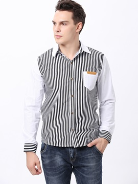 Striped Lapel Long Sleeve Shirt