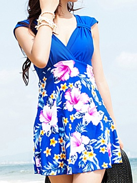 Floral Print Color Block Beach Dress