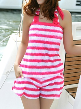 Candy Color Striped Swimwear