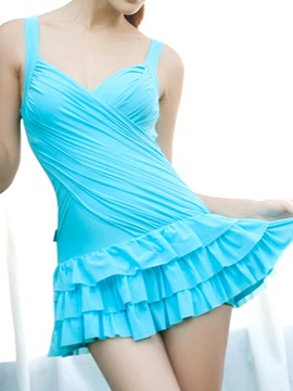 Candy Color Pleated Swimwear