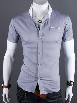 Lapel Single Breasted Mens Short Sleeve Shirt