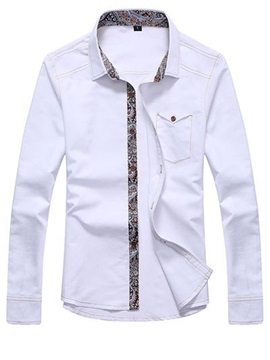 Solid Color Lapel Single Breasted Long Sleeve Shirt