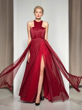Stunning Jewel Neckline Pleats Split Front A Line Long Evening Dress