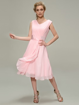 Eye Catching Ruched V Neck A Line Tea Length Bridesmaid Dress