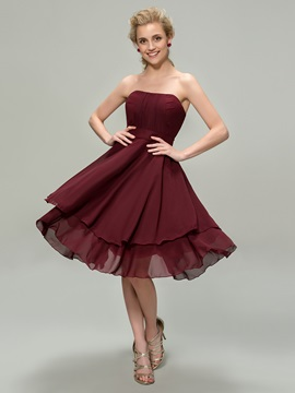 Cute Strapless Short A Line Up Bridesmaid Dress