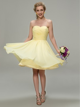 Strapless Sweetheart A Line Knee Length Bridesmaid Dress