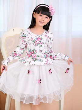 Floral Decorated Print Patchwork Girls Lace Dress