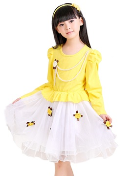 Floral Decorated Double Layered Girls Lace Dress