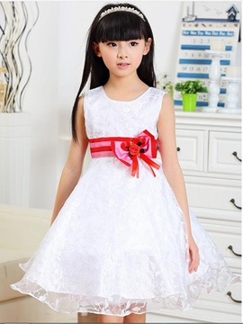 Red Bowknot Decorated Girls Dress