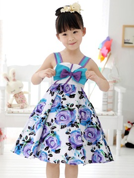 Blue Strappy Floral Print Bowknot Decorated Girls Dress