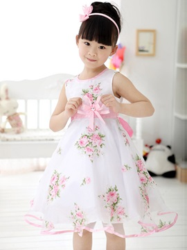 White Floral Print Bowknot Decorated Girls Dress