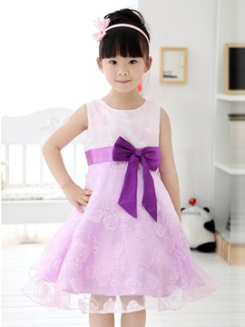 Purple Floral Print Bowknot Decorated Girls Dress