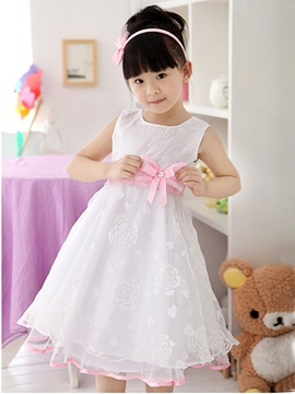 White Floral Print Bowknot Girls Lace Dress