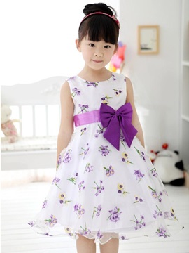 Floral Printing Bowknot Decorated Girls Dress