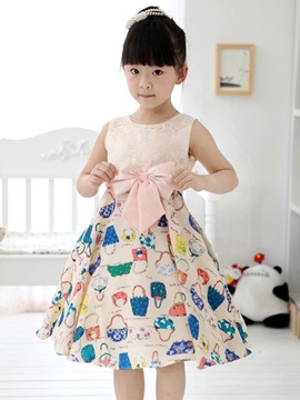Pink Bowknot Decorated Print Patchwork Girls Dress